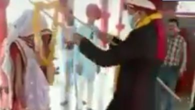 Photo of Unusual wedding party in the midst of lockdown by showing face thumb to administration