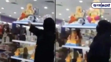 Photo of One woman wearing a burqa is breaking Ganesha idols one after another after entering the shop! The video is viral on social media