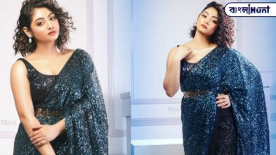 Photo of Blue sequin sari, sleeveless blouse, light shining on the butter skin! Pictures of Viral Tiyasha in the new look