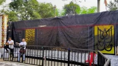 Photo of Durgapuja's pandal was wrapped in black cloth, BJP leader's voice raised the curtain
